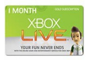 Xbox LIVE 1 Month Gold Subscription Card