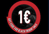€1 Gift Code for Black Friday Sale /22-25.11.2018/
