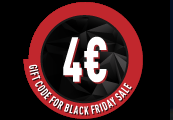 €4 Gift Code for Black Friday Sale /22-25.11.2018/