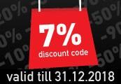 7% Discount Code - One per Account