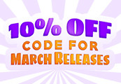 10% OFF code for March 2019 Releases