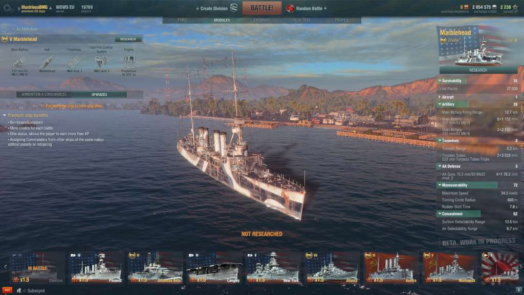 World of Warships - Cruiser Mablehead + 1000 doubloons + 30 Days Premium  INVITE Code