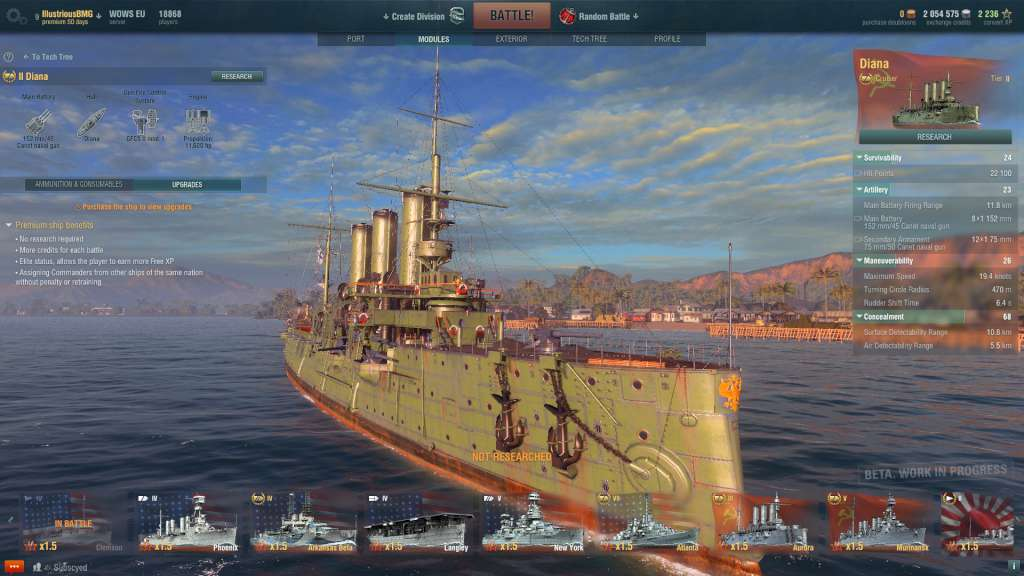 World of Warships - Cruiser Diana + 15 Days Premium INVITE