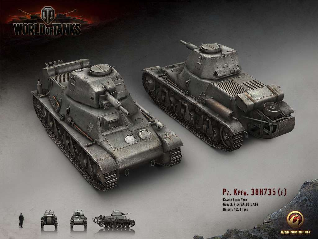 World of Tanks 2000 Gold + 50000 Silver + Pzkpfw 38H735(f
