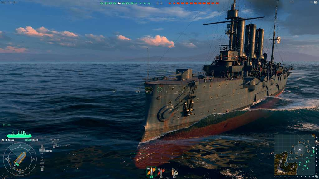 World of Warships - Aurora Ship + 1 Port Slot + 500