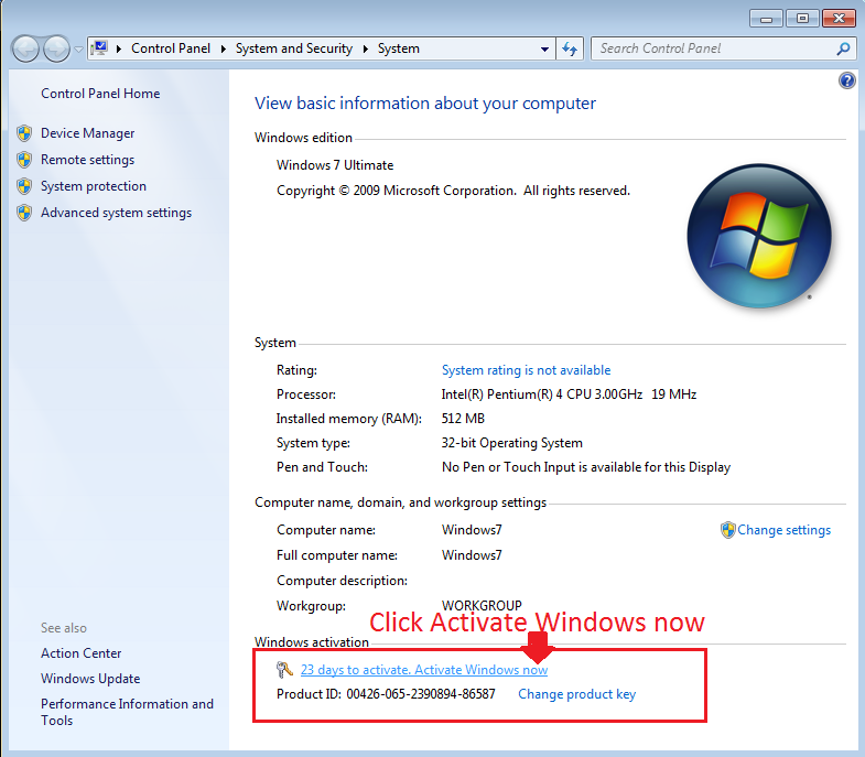 windows 7 how to activate product key